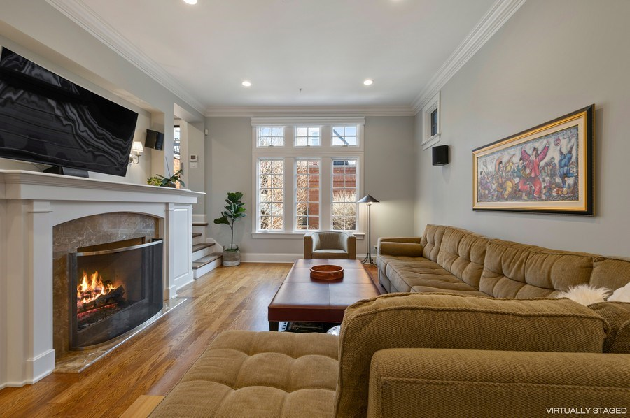 Real Estate Photography - 2309 N. Janssen Ave., Chicago, IL, 60614 - Family Room off Kitchen