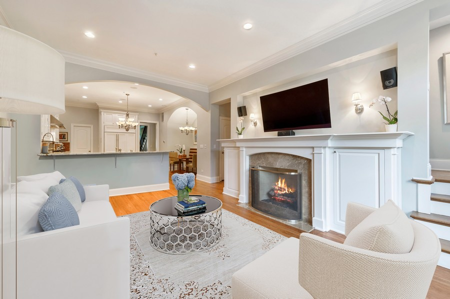 Real Estate Photography - 2309 N. Janssen Ave., Chicago, IL, 60614 - Family Room with fireplace