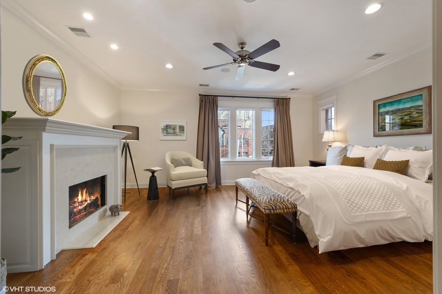 Real Estate Photography - 2309 N. Janssen Ave., Chicago, IL, 60614 - Master Bedroom with Fireplace