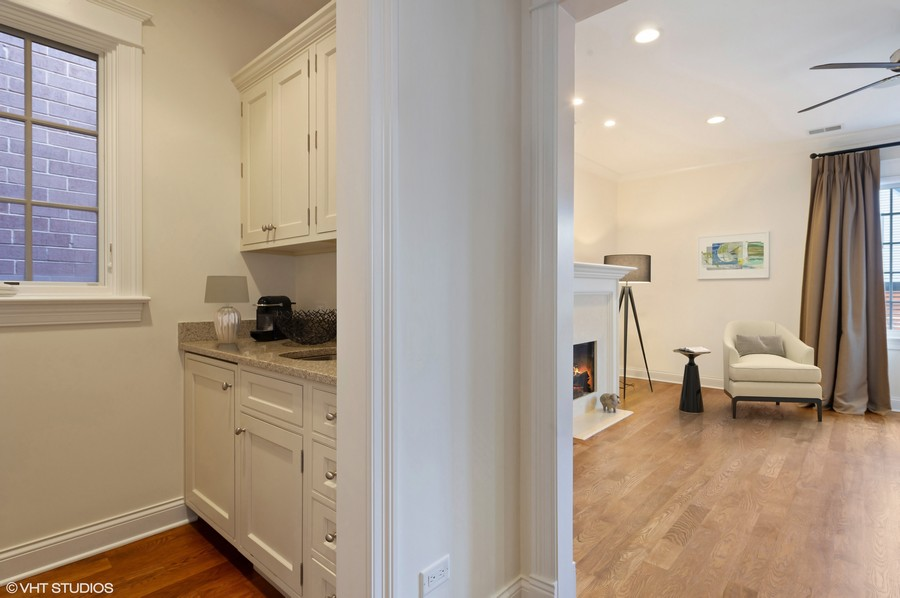 Real Estate Photography - 2309 N. Janssen Ave., Chicago, IL, 60614 - Master Bedroom with Coffee Bar