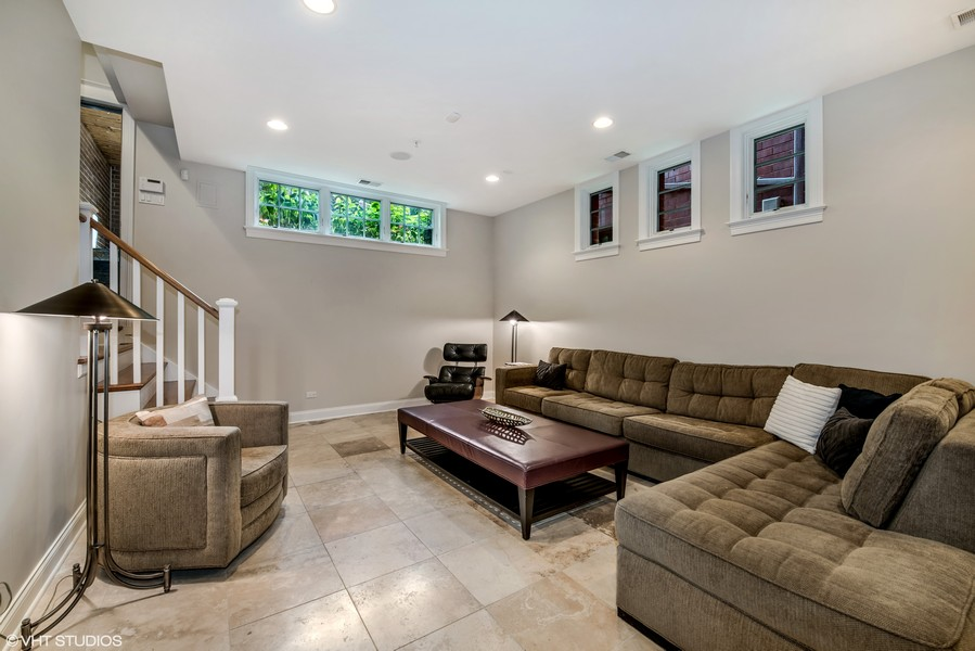 Real Estate Photography - 2309 N. Janssen Ave., Chicago, IL, 60614 - Lower Level Family Room
