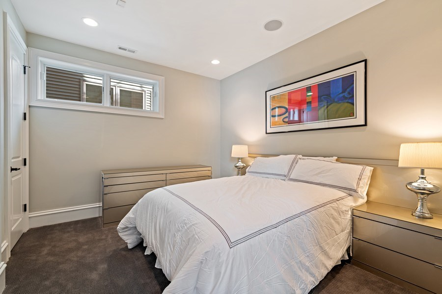 Real Estate Photography - 1921 W George, Chicago, IL, 60618 - Lower Level Bedroom