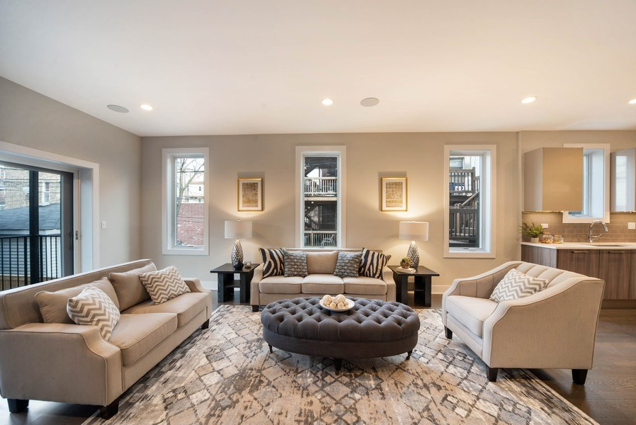 Real Estate Photography - 1220 W OHIO STREET 1, CHICAGO, IL, 60642 - Family Room