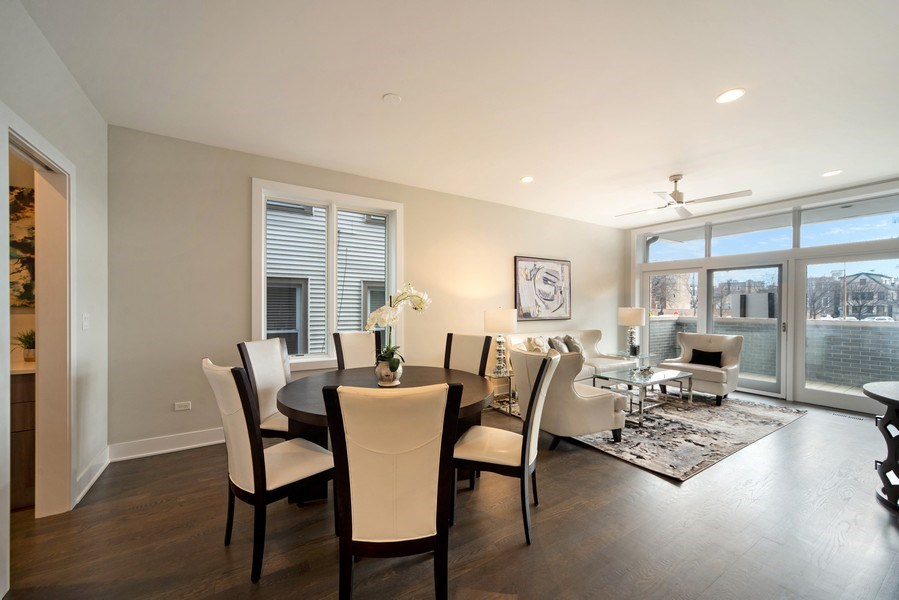 Real Estate Photography - 1220 W OHIO STREET 1, CHICAGO, IL, 60642 - Living Room / Dining Room