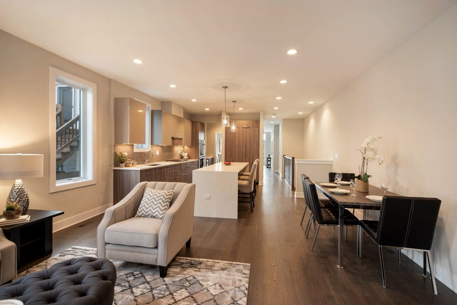 Real Estate Photography - 1220 W OHIO STREET 1, CHICAGO, IL, 60642 - Family Room / Kitchen