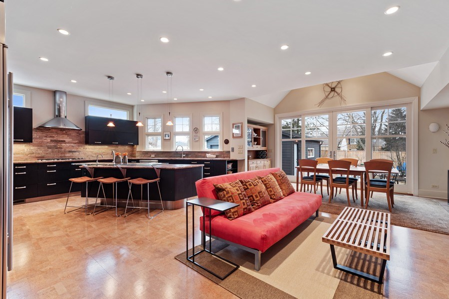 Real Estate Photography - 1725 Maplewood Ln, Glenview, IL, 60025 - Kitchen/Family Room/Dining Room