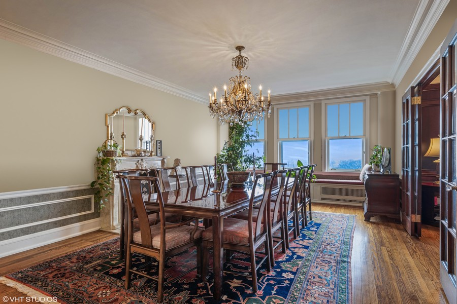 Real Estate Photography - 3300 N. Lake Shore Drive, Unit #6AB, Chicago, IL, 60657 - Dining Room (virtually staged)