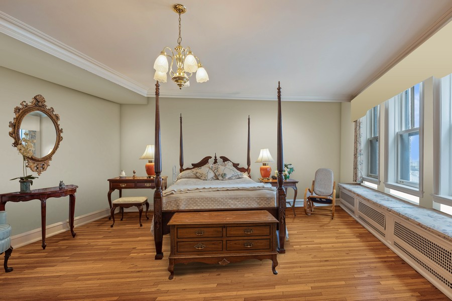 Real Estate Photography - 3300 N. Lake Shore Drive, Unit #6AB, Chicago, IL, 60657 - Master Bedroom (virtually staged)