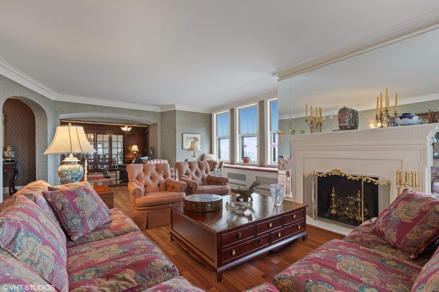 Real Estate Photography - 3300 N. Lake Shore Drive, Unit #6AB, Chicago, IL, 60657 - Living Room (virtually staged)