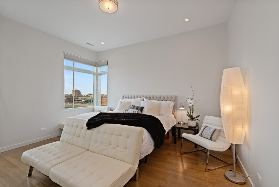 Real Estate Photography - 836 W Hubbard St, Unit 502, Chicago, IL, 60642 - Master suite