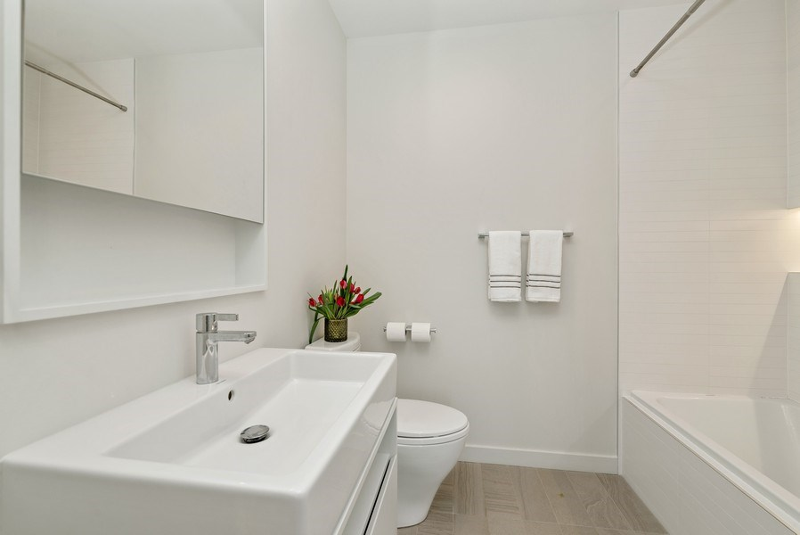 Real Estate Photography - 836 W Hubbard St, Unit 502, Chicago, IL, 60642 - 2nd Bathroom