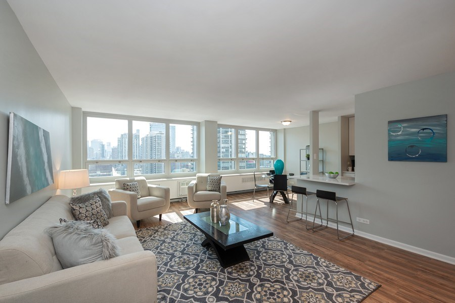 Real Estate Photography - 88 W Schiller St, Unit 1906, Chicago, IL, 60610 - Living Room