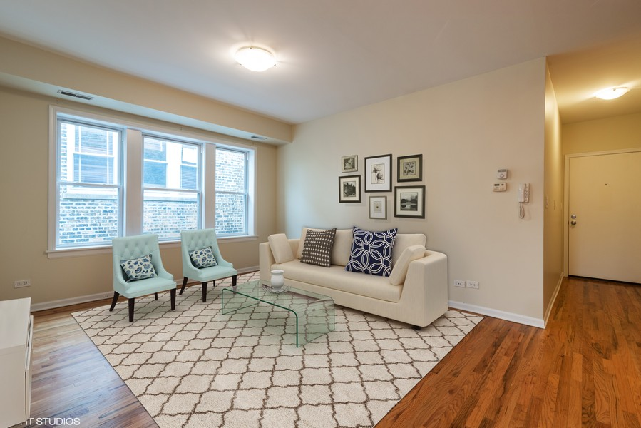 Real Estate Photography - 1738 W Foster Ave #3R, Chicago, IL, 60640 - Living Room - Virtually Staged