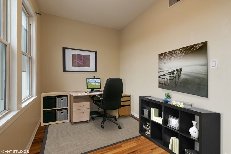 Real Estate Photography - 1738 W Foster Ave #3R, Chicago, IL, 60640 - Den/Office Virtually Staged