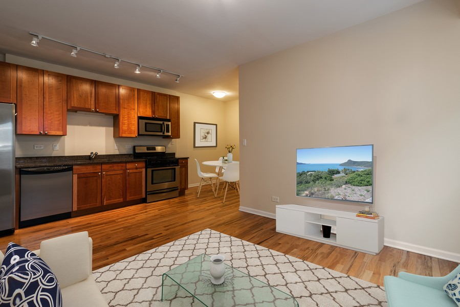 Real Estate Photography - 1738 W Foster Ave #3R, Chicago, IL, 60640 - Living Room/Kitchen Virtually Staged -Room for Isl