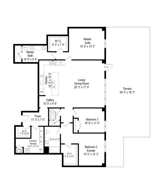Real Estate Photography - 367 W. Locust, 205, Chicago, IL, 60654 - Floor Plan