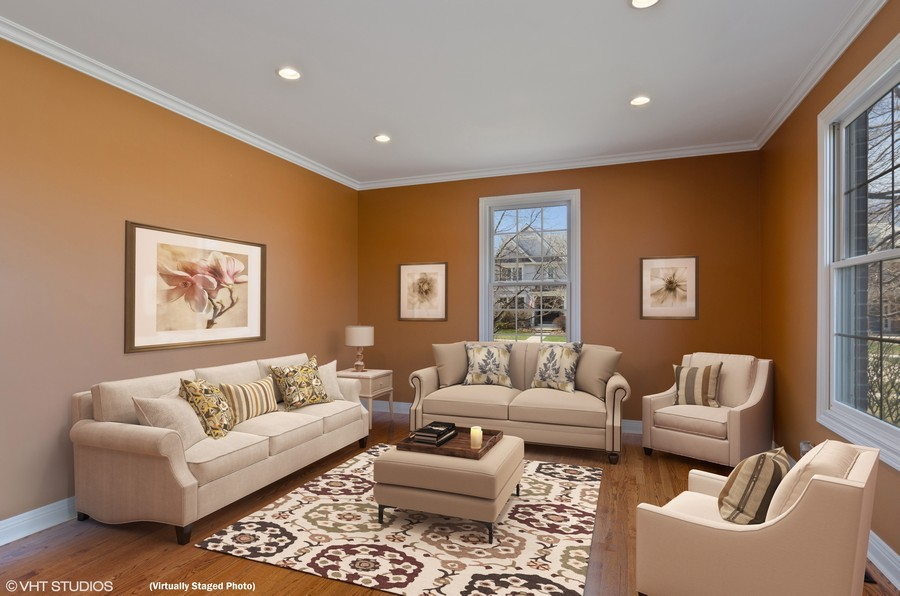 Real Estate Photography - 1601 Cabot Ln, Glenview, IL, 60026 - Living Room (Virtually Staged)