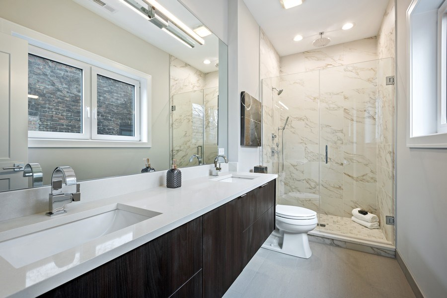 Real Estate Photography - 2302 North Hoyne Avenue, 2, Chicago, IL, 60647 - Master Bathroom