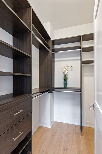 Real Estate Photography - 2302 North Hoyne Avenue, 2, Chicago, IL, 60647 - Master Bedroom Closet