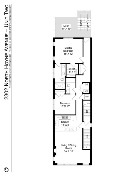 Real Estate Photography - 2302 North Hoyne Avenue, 2, Chicago, IL, 60647 - Floor Plan
