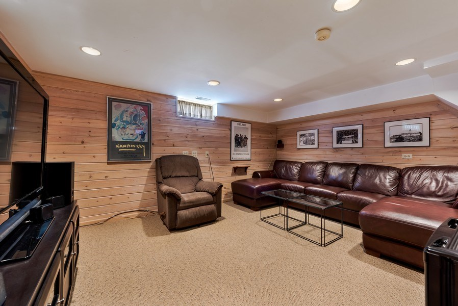 Real Estate Photography - 2029 Colfax, Evanston, IL, 60201 - Lower Level Family Room