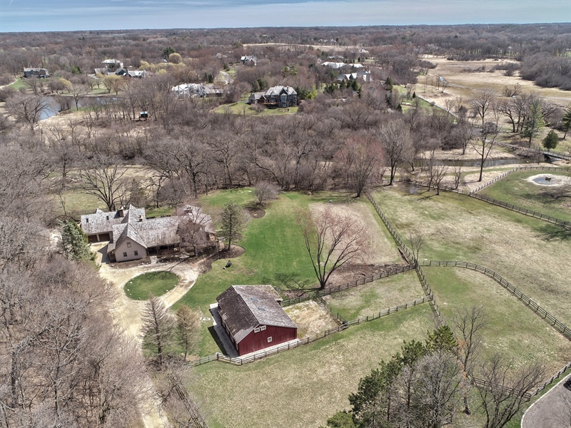 Real Estate Photography - 61 Ridge Road, Barrington Hills, IL, 60010 - Aerial View