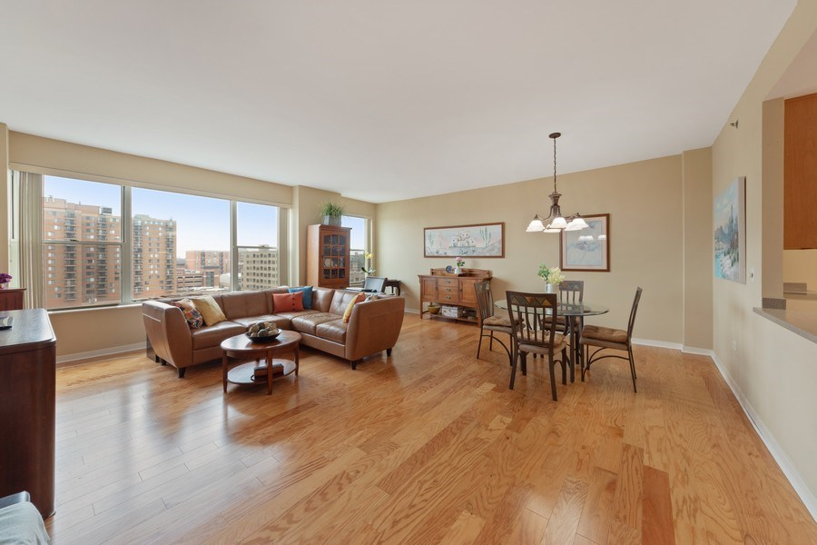 Real Estate Photography - 77 S Evergreen, 806, Arlington Heights, IL, 60005 - Living Room / Dining Room