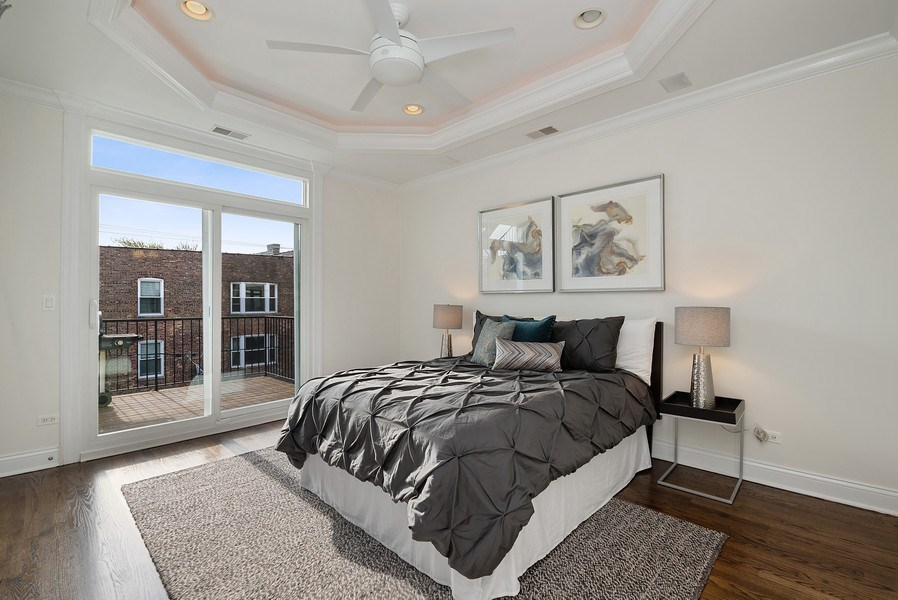 Real Estate Photography - 3333 N Seminary, Unit 3, Chicago, IL, 60657 - Master Bedroom