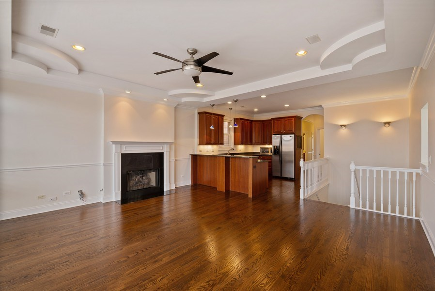 Real Estate Photography - 3333 N Seminary, Unit 3, Chicago, IL, 60657 - Kitchen / Living Room