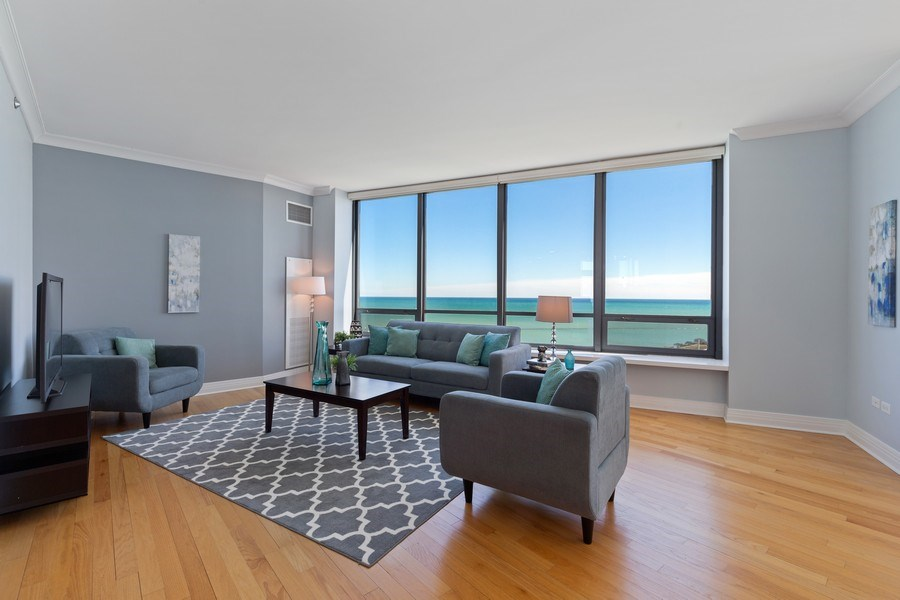 Real Estate Photography - 600 N Lake Shore, Unit 3304, Chicago, IL, 60611 - Living Room