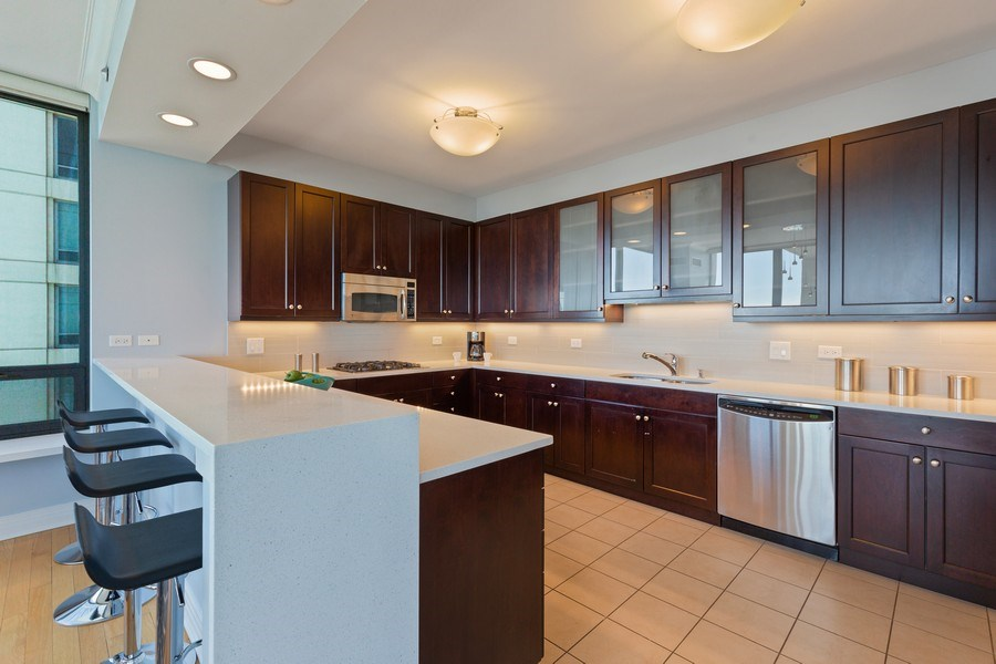 Real Estate Photography - 600 N Lake Shore, Unit 3304, Chicago, IL, 60611 - Kitchen
