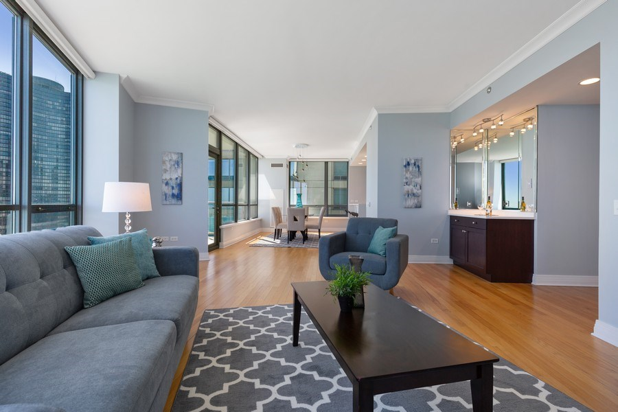 Real Estate Photography - 600 N Lake Shore, Unit 3304, Chicago, IL, 60611 - Living Room / Dining Room