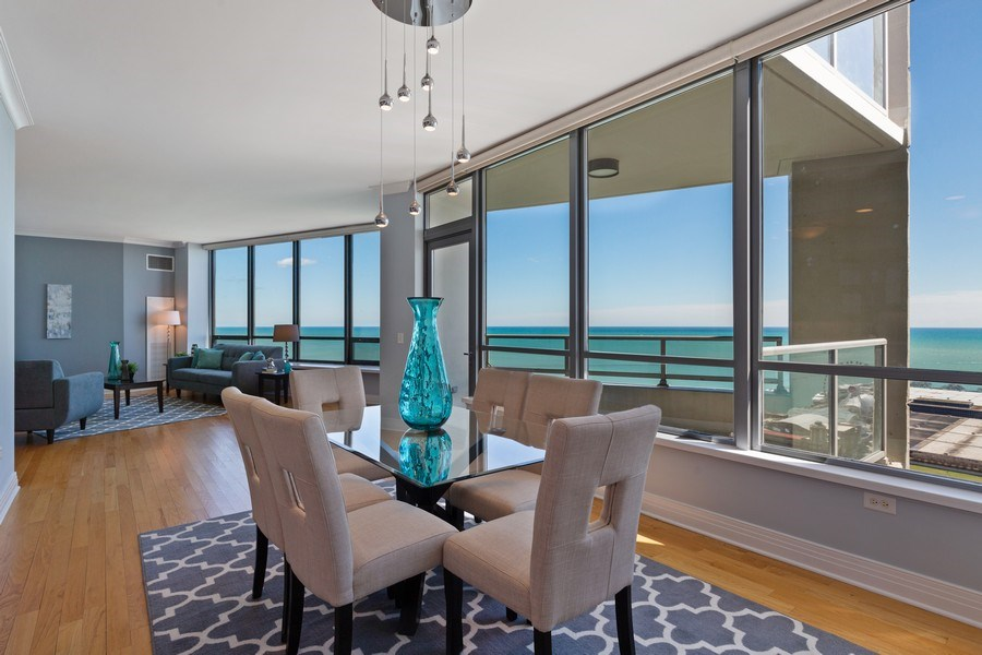 Real Estate Photography - 600 N Lake Shore, Unit 3304, Chicago, IL, 60611 - Living Room/Dining Room