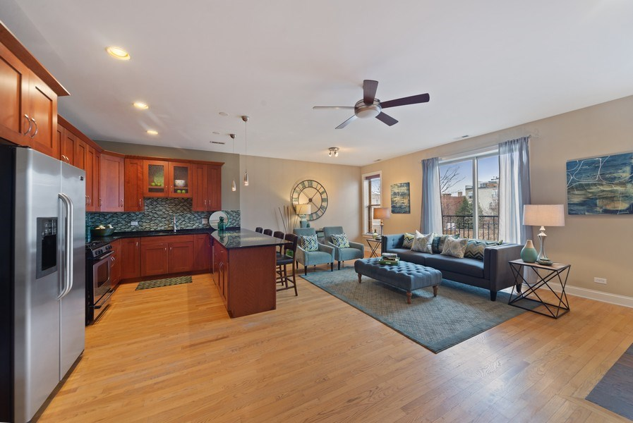 Real Estate Photography - 2115 W. Chicago, 3, Chicago, IL, 60622 - Kitchen/Living