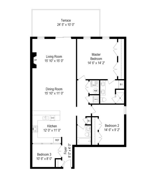 Real Estate Photography - 3203 N. Oakley, #301, Chicago, IL, 60618 - Floor Plan