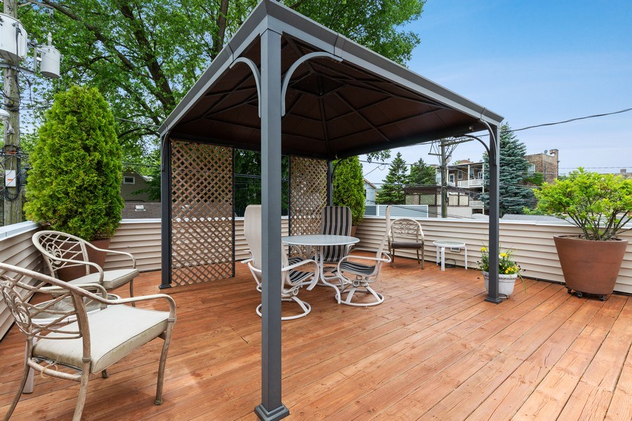 Real Estate Photography - 1957 W. Summerdale Avenue, Chicago, IL, 60640 - Garage Deck with Pergola