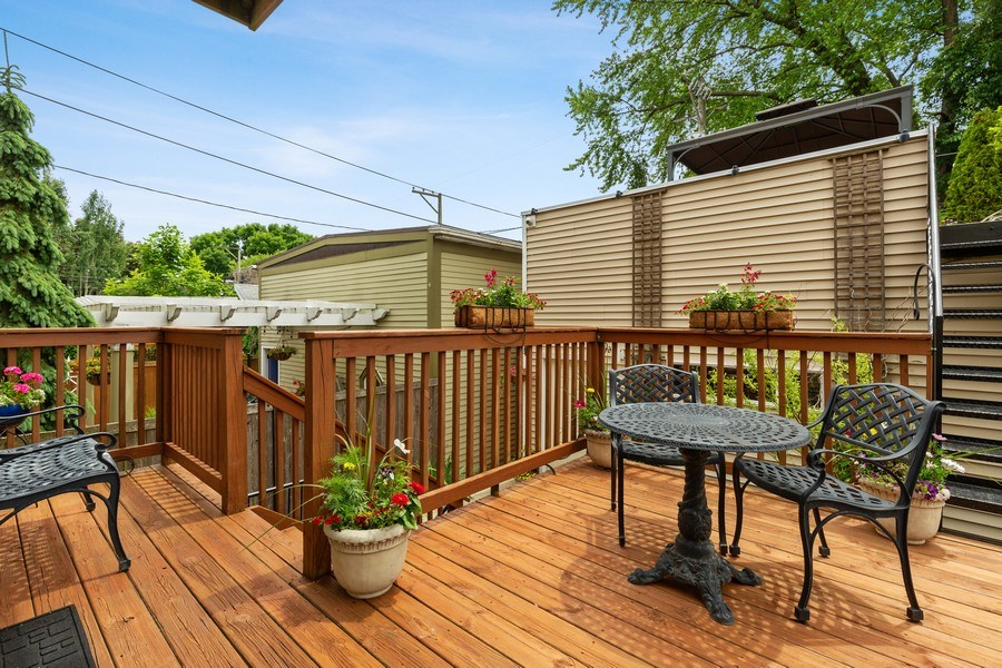 Real Estate Photography - 1957 W. Summerdale Avenue, Chicago, IL, 60640 - Main Deck Off Kitchen with Stairs to Garage Deck