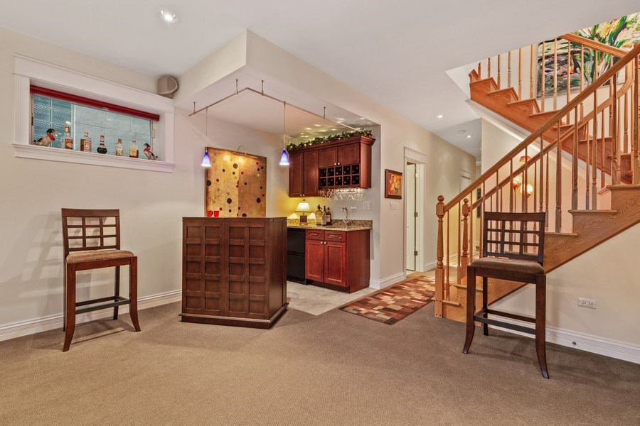 Real Estate Photography - 1957 W. Summerdale Avenue, Chicago, IL, 60640 - Lower Level Rec Room Bar Area