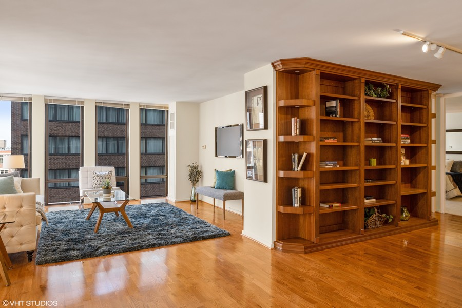 Real Estate Photography - 200 E. Delaware Place, Unit 15A, Chicago, IL, 60611 - Living Room / Library Area