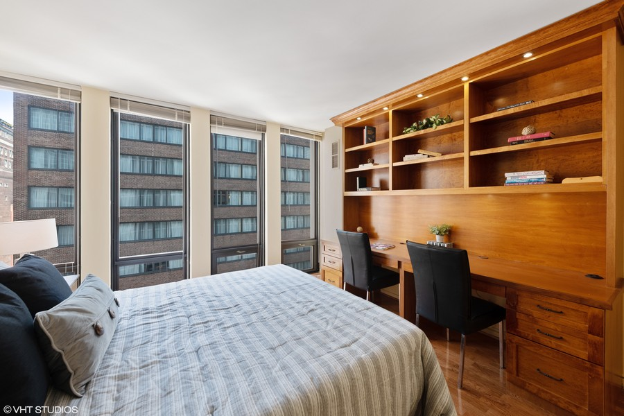 Real Estate Photography - 200 E. Delaware Place, Unit 15A, Chicago, IL, 60611 - 2nd Bedroom with Built In Desk