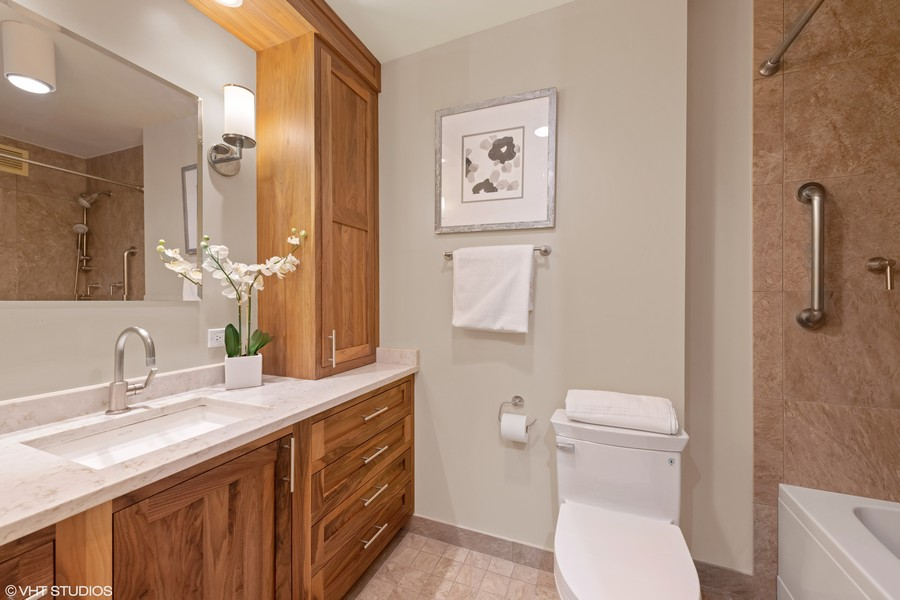 Real Estate Photography - 200 E. Delaware Place, Unit 15A, Chicago, IL, 60611 - 2nd Bathroom