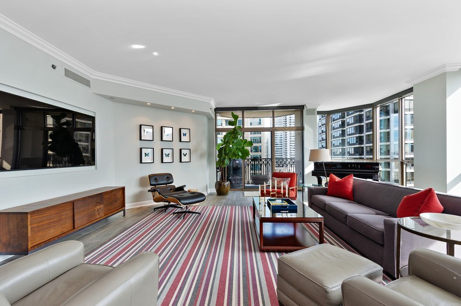 Real Estate Photography - 21 East Huron, Unit 2905, Chicago, IL, 60611 - Living Room