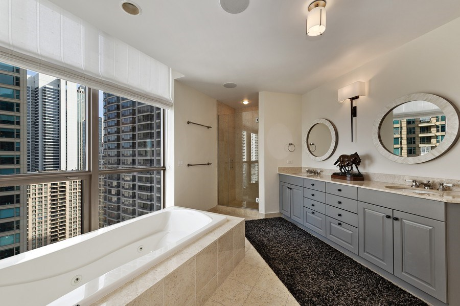 Real Estate Photography - 21 East Huron, Unit 2905, Chicago, IL, 60611 - Master Bathroom