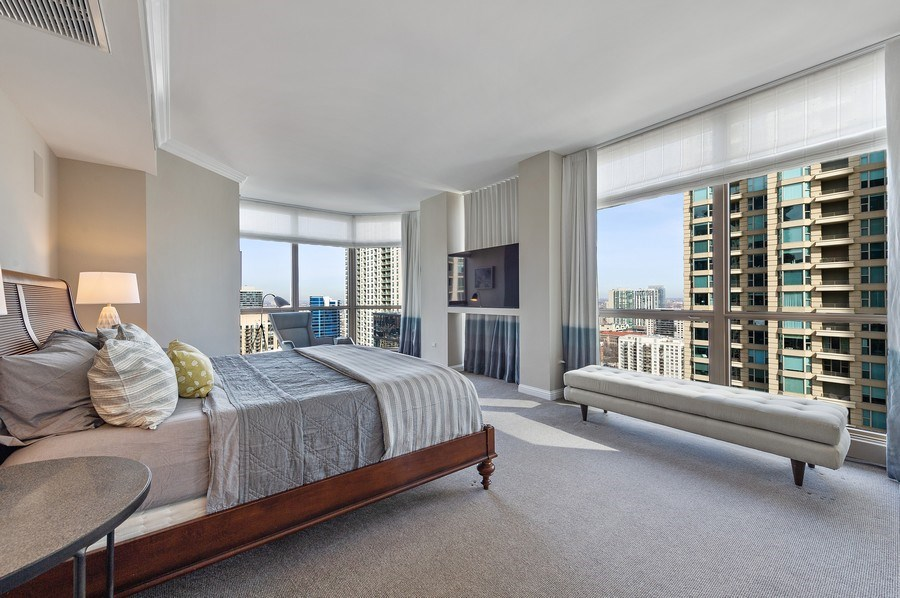 Real Estate Photography - 21 East Huron, Unit 2905, Chicago, IL, 60611 - Master Bedroom