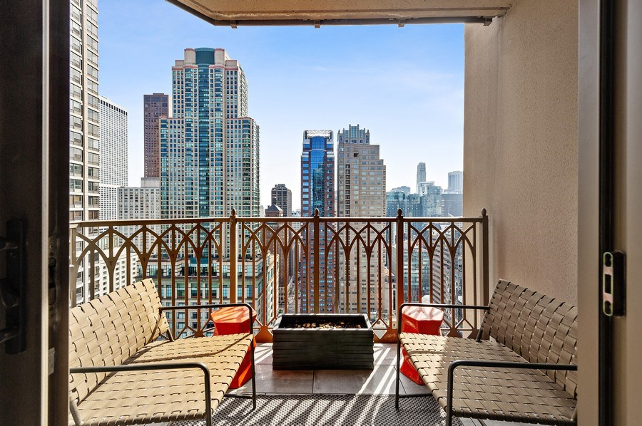 Real Estate Photography - 21 East Huron, Unit 2905, Chicago, IL, 60611 - Balcony