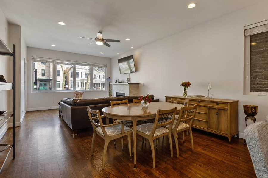 Real Estate Photography - 1916 N. Kedzie Ave., #1F, Chicago, IL, 60647 - Living Room / Dining Room
