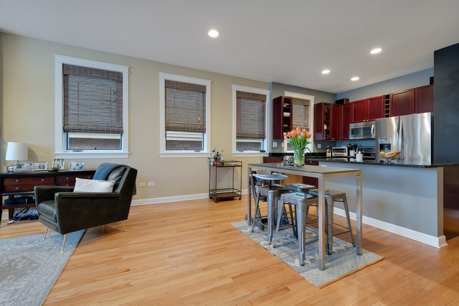Real Estate Photography - 1369 W Hubbard St, Unit 1E, Chicago, IL, 60642 - Kitchen / Living Room