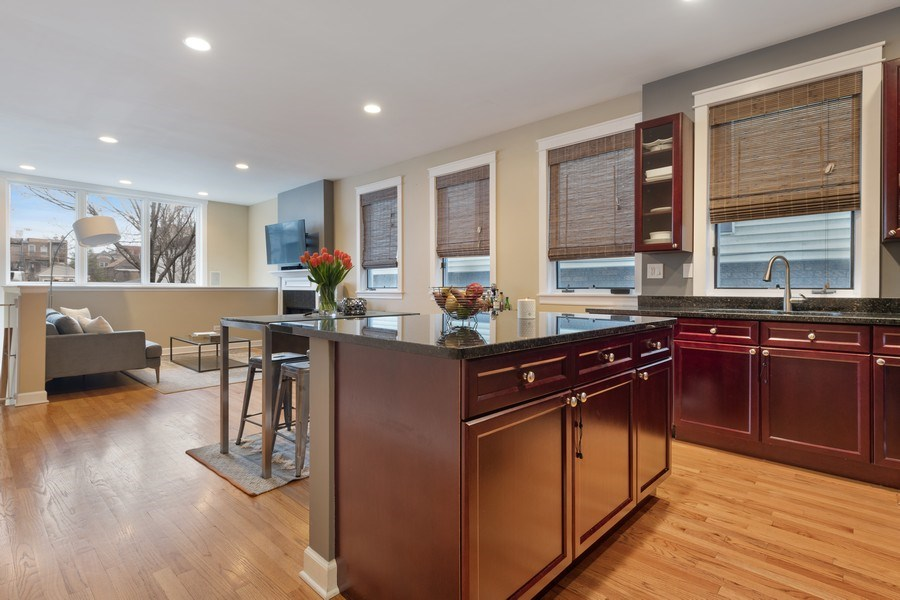 Real Estate Photography - 1369 W Hubbard St, Unit 1E, Chicago, IL, 60642 - Kitchen/Living
