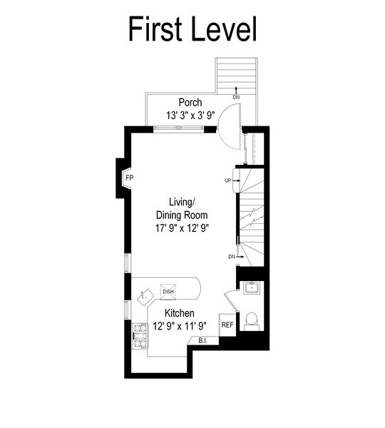 Real Estate Photography - 3645 N Wayne, Unit A, Chicago, IL, 60613 - Floor Plan