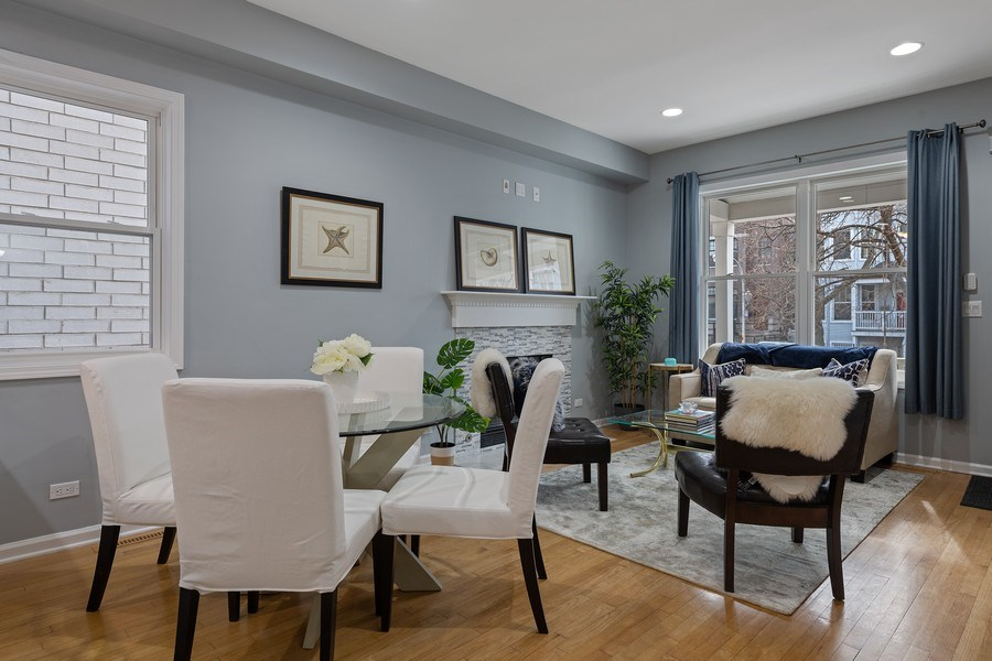 Real Estate Photography - 3645 N Wayne, Unit A, Chicago, IL, 60613 - Living Room / Dining Room